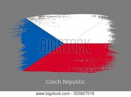 Czech Republic Official Flag In Shape Of Paintbrush Stroke. Czech National Identity Symbol. Grunge B