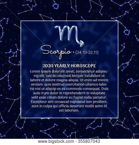 Scorpio Astrology Horoscope Prediction For 2020 Year. Luminous Zodiac Signs On Blue Background. Scor