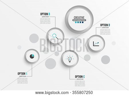 Vector Infographic Template With 3d Paper Label, Business Concept With 4 Options. For Content, Diagr