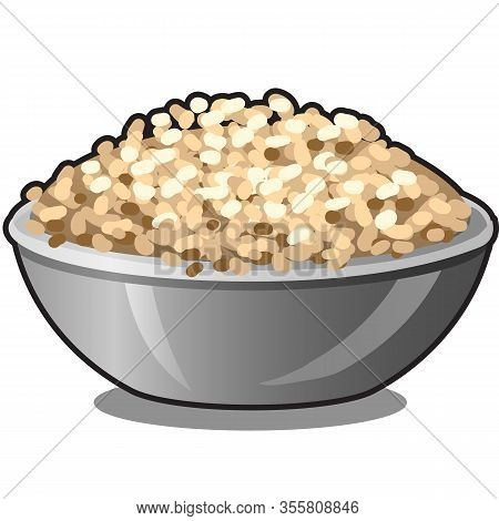 Ceramic Bowl With Cereal Flakes Isolated On White Background. Organic Food Healthy Diet And Fitness