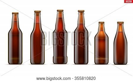 Mockup Set Of Craft Beer Bottle. Different Bottle Models In Brown Glass. Individual And Home Brewery