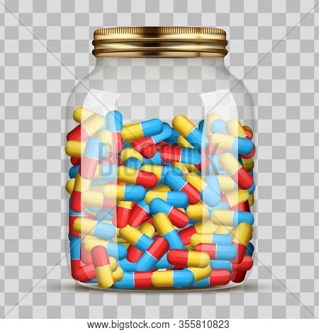 Jars With Pills. The Concept Of Consumption And Stock Of Drugs In Large Quantities. Glass Jar With L