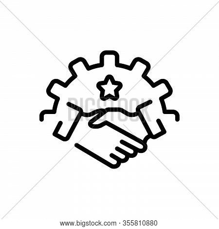 Black Line Icon For Partnership Fellowship Alliance League Cooperation Association Handshake Busines