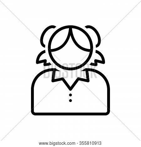Black Line Icon For Teenager Adolescent Stripling Youth Minor Juvenile Girlish Girl