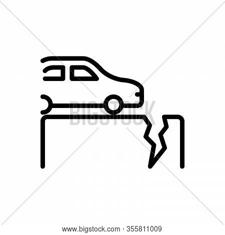 Black Line Icon For Fault Defect Glitch Lapse Crash Crack Rift Broken Fall Damage Disaster Gap Car