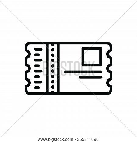 Black Line Icon For Pass Security Badge Event-pass Identity Ticket Sticker Voucher Talon Coupon Entr
