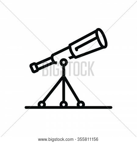 Black Line Icon For Telescope Discovery Astronomy Observe Magnification Instrument Spyglass Watching