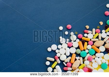 Heap Of Medicine Pills.frame Made From Colorful Pills And Capsules.drug Prescription For Treatment M