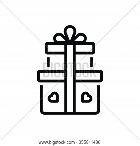 Black Line Icon For Gift Offering Giftware Contribution Keepsake Bounty Fairing Pack Parcel Present