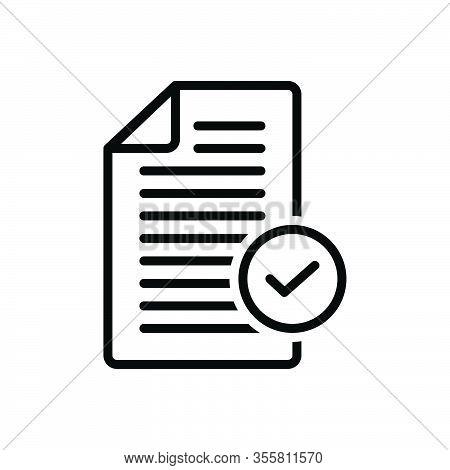 Black Line Icon For Okay Document Register Acceptance Approval Tick Checkmark Checkbox Survey Accept