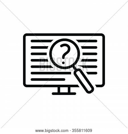 Black Line Icon For Often Oftentimes Generally Regularly Repeatedly Frequently Investigate Digital I