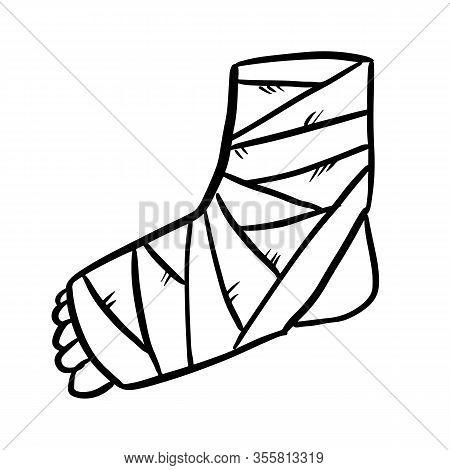 Broken Leg Cast Doodle. Injured Limb In Gypsum Plaster. Media Glyph Graphic Icon