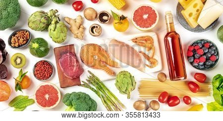 Food Panorama, A Flat Lay Of Many Different Products, With Meat, Fish, Chicken And Shrimps, Vegetabl