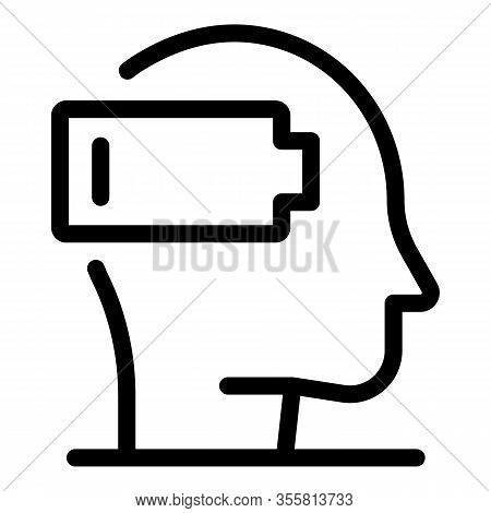 Stress Discharged Battery Icon. Outline Stress Discharged Battery Vector Icon For Web Design Isolate