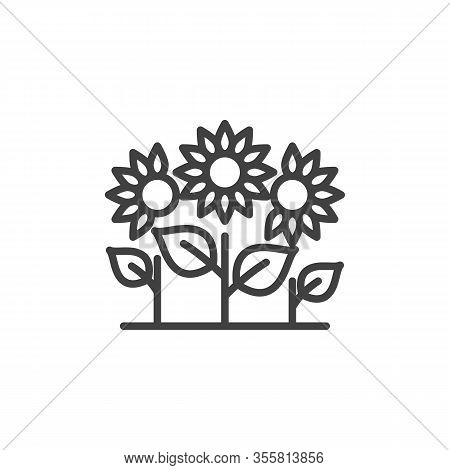 Three Flowers Line Icon. Growing Sunflowers Linear Style Sign For Mobile Concept And Web Design. Flo