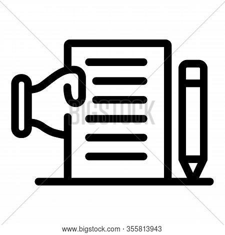 Contractor Checklist Icon. Outline Contractor Checklist Vector Icon For Web Design Isolated On White