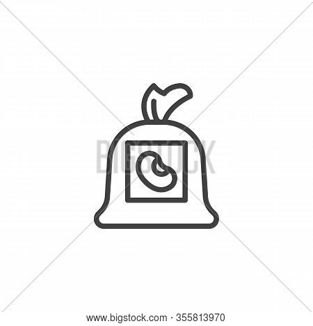 Bean Sack Line Icon. Linear Style Sign For Mobile Concept And Web Design. Kidney Beans Sack Outline