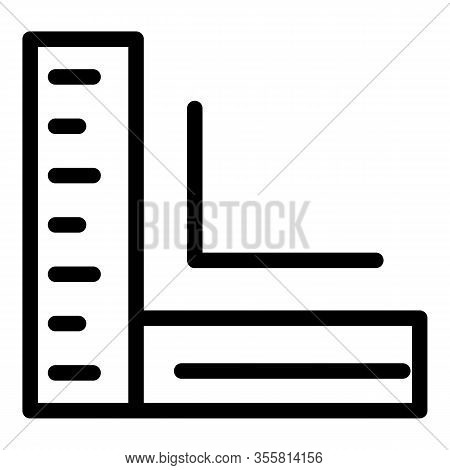 Corner Ruler Icon. Outline Corner Ruler Vector Icon For Web Design Isolated On White Background