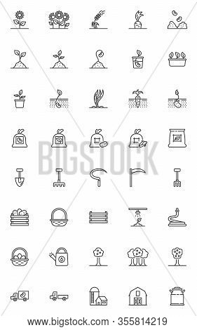 Agriculture And Farming Line Icons Set. Linear Style Symbols Collection, Horticulture And Harvest Ou