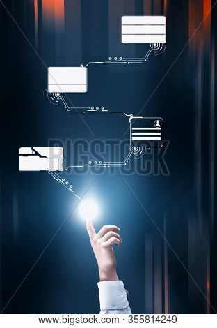 Hand Touch Holograma Concept . Digital Media Access . Futuristic Data Transfer.