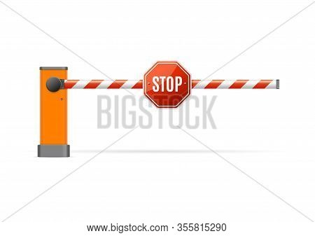 Realistic Detailed 3d Barrier Gate With Stop Sign Symbol Of Boundary For Security Or Construction. V