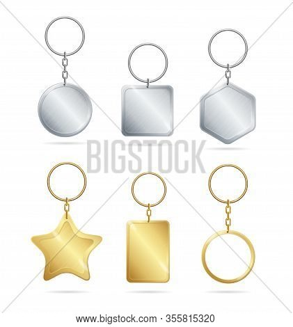 Realistic Detailed 3d Empty Template Shiny Golden And Silver Metal Keychains Set For House And Car.