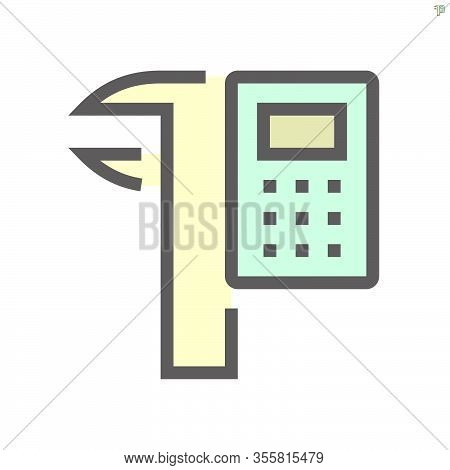 Calculator And Vernier Caliper Vector Icon Design For Engineering Design Concept,  48x48 Pixel Perfe