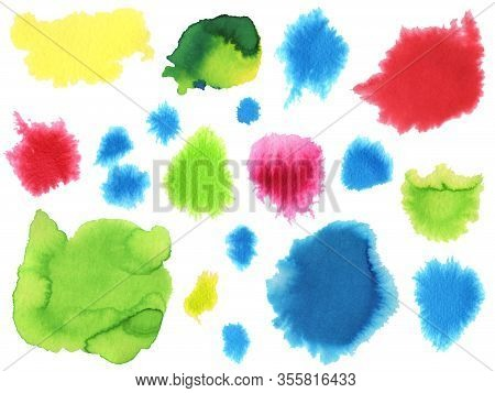 Watercolor Colorful Brush Strokes And Smears Set. Hand Drawn Red, Yellow, Green, Blue Aquarelle Spla