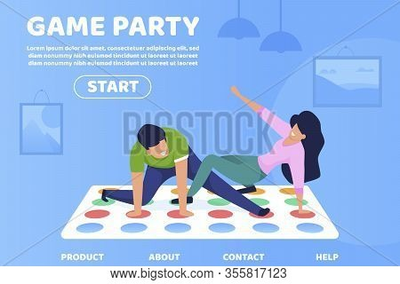 Flat Game Party Informational Poster Lettering. Interesting Ways Spending Time For Whole Family. Fly
