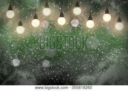 Green Wonderful Shining Abstract Background Light Bulbs With Sparks Fly Defocused Bokeh - Festal Moc