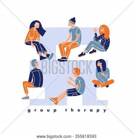 Psychological Treatment Concept. Psychotherapist Sessions O Students.