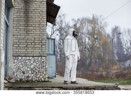 Male Research Scientist Standing Outside While Working At Thermal Power Station. Environmentalist We
