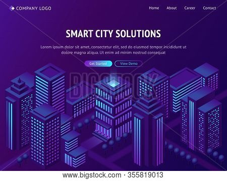 Smart City Solutions Isometric Landing Page, Futuristic Metropolis Town With Neon Glowing Skyscraper