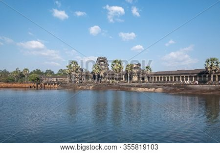 Siem Reap, Cambodia - December 30,2019: Angkor Wat Is A Temple Originally Hindu Built For Khmer Empi