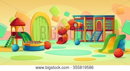 Kids Playground In Play Park With Spiral Tube Slide, Houses And Ball Pool. Vector Cartoon Empty Inte