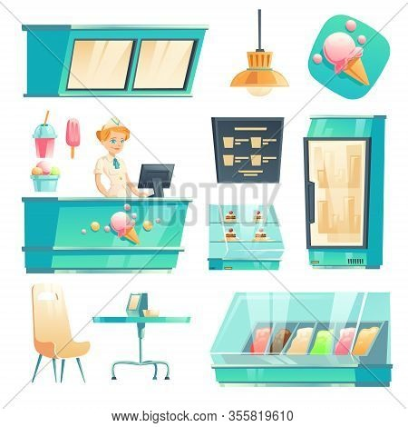 Ice Cream Shop Interior With Seller At Counter, Fridge And Table. Vector Cartoon Set Of Furniture Of