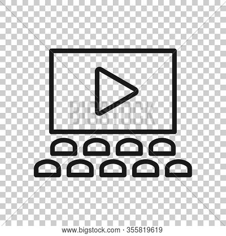 Film Icon In Flat Style. Movie Vector Illustration On White Isolated Background. Cinema Theater Busi