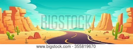 Desert Landscape With Road, Rocks And Cactuses. Vector Cartoon Illustration Of Highway Turn In Arizo