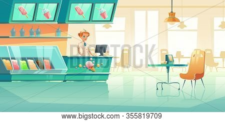 Ice Cream Shop With Seller Behind Counter, Fridge, Tables With Chairs. Vector Cartoon Interior Of Ca