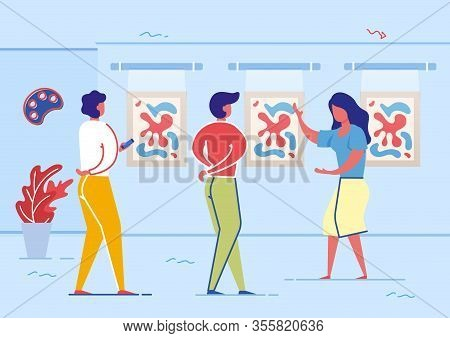 Museum Or Art Galley Hall With Paintings Flat Cartoon Vector Illustartion. Woman Showing Picture As
