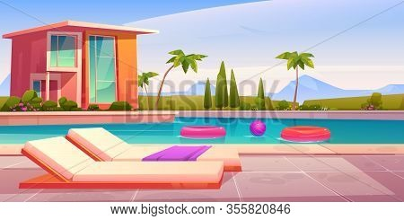 House And Swimming Pool With Deck Chairs On Poolside And Balls In Water. Vector Cartoon Summer Lands