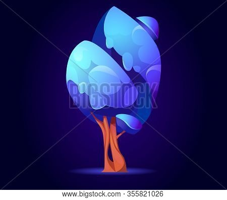 Fantasy Tree, Alien Or Magic Unusual Wood With Blue Glowing Leaves, Nature Element For Computer Game