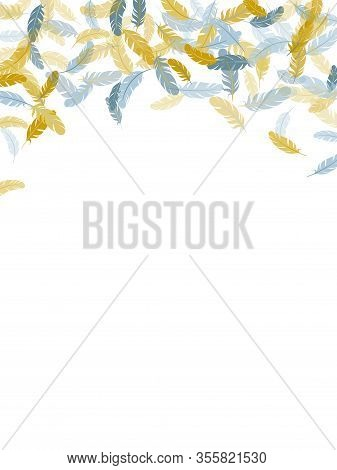 Weightless Silver Gold Feathers Vector Background. Detailed Majestic Feather On White Design. Lightw