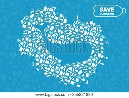Plastic Trash Planet Pollution Concept Vector Illustration. Whale Ocean Animal Outline Cut In Plasti