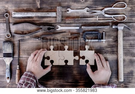 Vintage Woodworking Equipment For Diy And Work Tools For Carpenter And Craftsmanship. Labor Day Conc