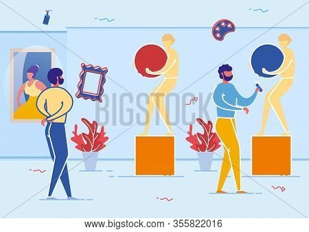 People In Art Gallery Looking At Sculptures And Paintings Flat Cratoon Vector Illustration. Man Walk