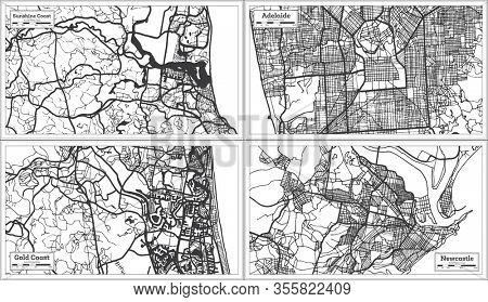 Gold Coast, Adelaide, Newcastle and Sunshine Coast Australia City Maps in Black and White Color. Outline Maps.