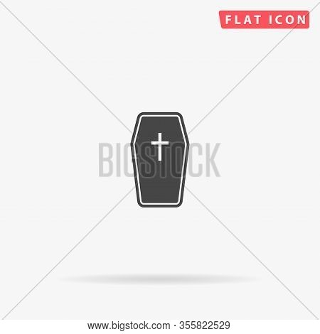 Wooden Coffin Flat Vector Icon. Glyph Style Sign. Simple Hand Drawn Illustrations Symbol For Concept