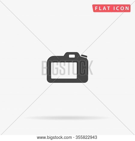 Dslr Camera Flat Vector Icon. Glyph Style Sign. Simple Hand Drawn Illustrations Symbol For Concept I