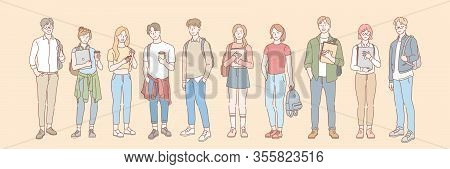 Set Of College Student, Pupil Concept. Group Of Young Men And Women Students Teenagers, Pupils With